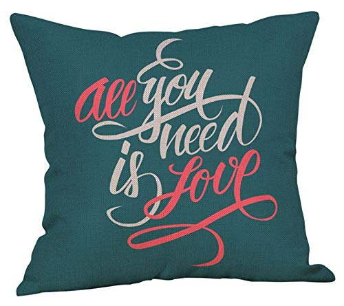 "Dozili Valentines Love Throw Pillow Cushion Covers Replacement Custom Text Pillow Decorative Cushion Pillow Cover Size: 18""X18"""