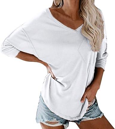 Camisas de Mujer Camisas Otoño Blusa de Seda con Bolsillo ...