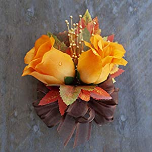 Orange Silk Roses Corsage with Fall Maple Leaves - Autumn Wedding Flowers by BalsaCircle 104