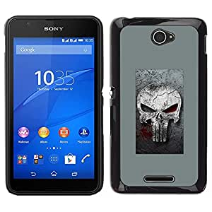 A-type Arte & diseño plástico duro Fundas Cover Cubre Hard Case Cover para Sony Xperia E4 (Gray Sancionar cráneo)
