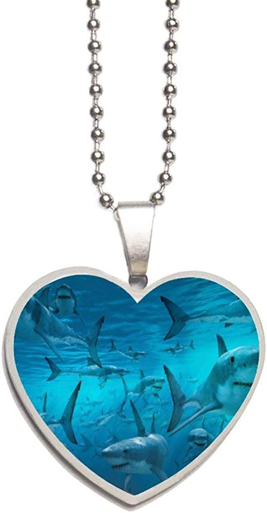 Underwater Shark Group Sea Blue Necklace Personalized Engraved Heart Custom Gift Pendant-Valentines Day Love