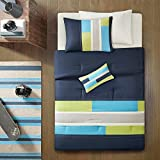 Boys Comforter Sets Full Queen Twin Kids Teen Bedding Blue Green Stripes Perfect for Home or Dorm Room Bundle Includes Bonus Pocket Flashlight (Blue, Twin/Twin XL))