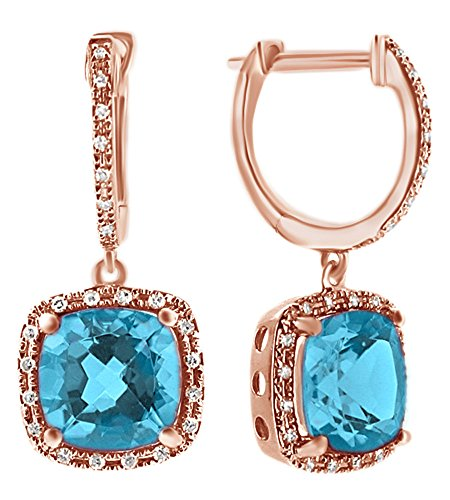Simulated Blue Topaz With Natural Diamond Halo Dangle Earrings In 14K Rose Gold (Earrings Diamond Blue Simulated)