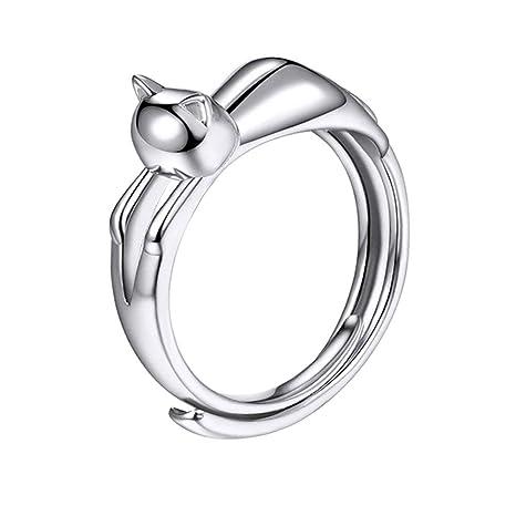 Lumanuby: anillo bañado en plata con forma de gato, anillo abierto ajustable