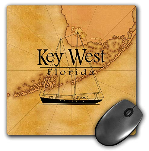 3dRose Macdonald Creative Studios - Florida - Vintage Style Nautical map and Sailboat for Key West Florida. - Mousepad ()