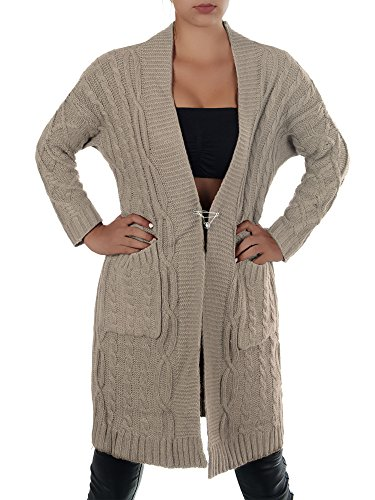 N616 Damen Longshirt Grobstrick Cardigan Jacke Strickjacke Kleid Bluse Lang  Coffee VWBddX d30cf7fb5f