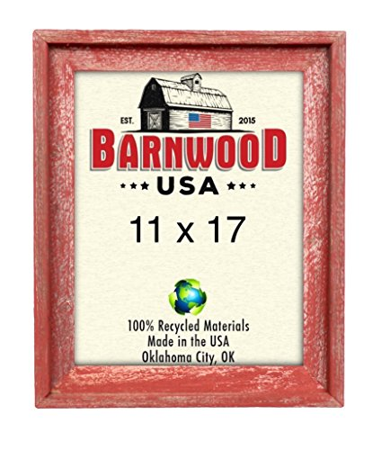 BarnwoodUSA | Signature Picture Frame – 100% Up-cycled Reclaimed Wood (11×17, Rustic Red) Review