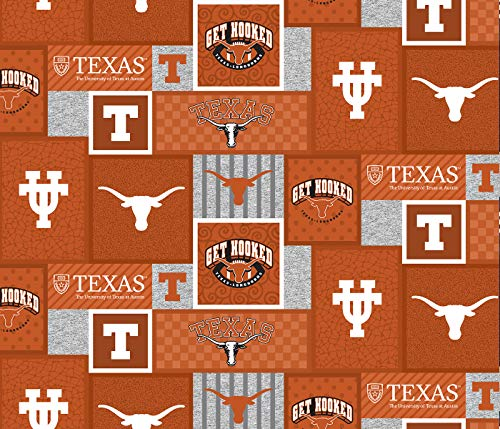 (University of Texas Fleece Blanket Fabric-Texas Longhorns Fleece Fabric with New Patch Pattern-Sold by The Yard-SYKEL)
