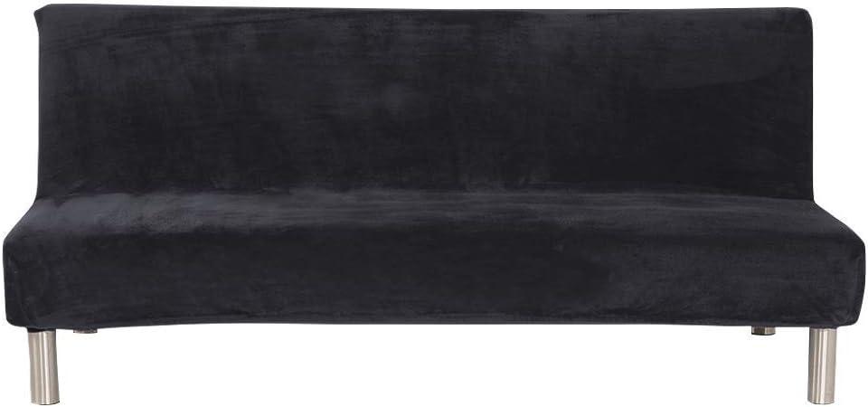ele ELEOPTION Futon Cover Armless Sofa Slipcover Stretch Sofa Bed Cover Protector Elastic Spandex Modern Simple Folding Couch Sofa Shield Futon Cover (Dark Grey+Thicker Plush)