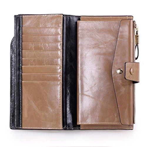 Unisex Geldbeutel gewachst Leder Portemonnaie Lang Geldbörse groß Kapazität Luxus echtes Leder Geldbörsen mit 20 Kartenfächer RFID Schutz Reißverschluss-Tasche Ledertaschen Portmonee Geldtasche Aprikose