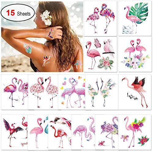 Konsait 15pcs Flamingo Temporary Tattoo for Women Kids, Elegant Hawaiian Luau Temporary Tattoos, Waterproof Tropical Tattoos Stickers for Hawaiian Summer Beach Pool Party Decorations Supplies (Temporary Tattoos Elegant)