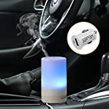Car Essential Oil Diffuser, CRDC Life 50ml Portable USB 5V-1A Car Charger Aroma Humidifier 3 Timer Mode & Colorful LED Light Auto Shut Off Air Purifier for Car Office Travel Rooms