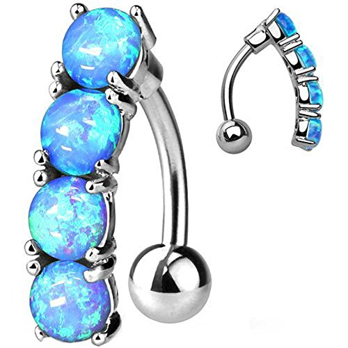 (Inspiration Dezigns 14G 10mm Drop Top Down Blue Opal Set 316L Surgical Steel Navel)