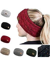 Women Winter Warm Beanie Headband Skiing Knitted Cap Ear...