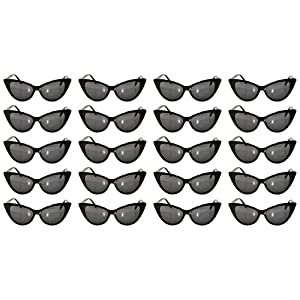 Lot of 20 Pairs Wholesale Vintage Cat Eye Sunglasses Black Frame Smoke Lens