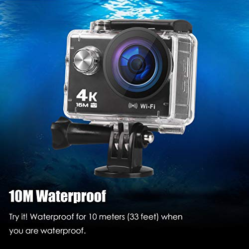 Prymax 4K Action Camera 16MP WiFi Ultra HD AntiShake 30M Underwater Waterproof Camera Sports Camcorder with 170176 Degree Wide Angle Lens and 20 Inch LCD Screen and hightech Sensor