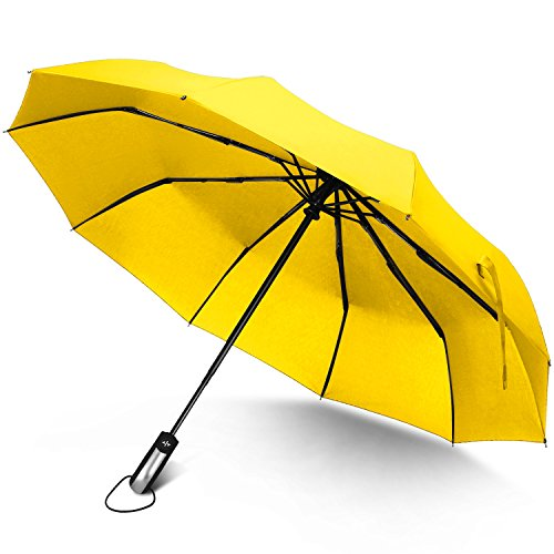 Rainlax Windproof Umbrella 10 Ribs Unbreakable Lightweight Auto Open and Close Travel Umbrellas for Men/Women One Handed Operation (Yellow)