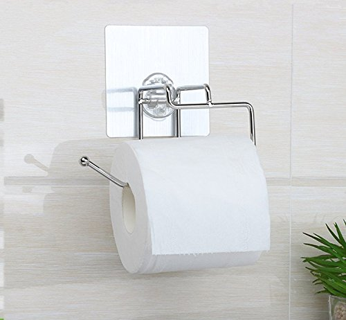 Side Of Tank Toilet Paper Holder Sleek Non Permanent Sticker Stainless Steel Bath Tissue