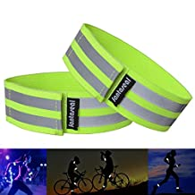 Fantaseal® High Reflective Safety Belt High Visibility Elastic Sports Wearable Bands Ankle Bands Armbands Wristband Sweatband Wrist Wrap Leg Strap Belt Reflective Fabric Tape Safety Sports Brace for Walking Jogging Running Cycling Sports & Outdoor Activity Gear- 2 pack ( 37cm / 14 inch, GN )