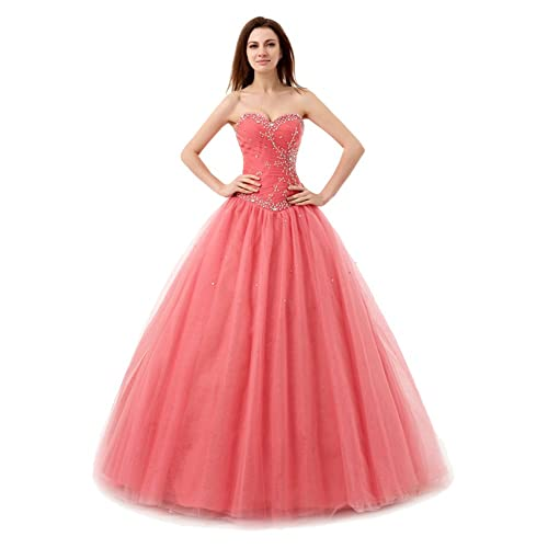 Engerla Womens Sweetheart Beaded Sequins Lace-up Tulle Prom Dress