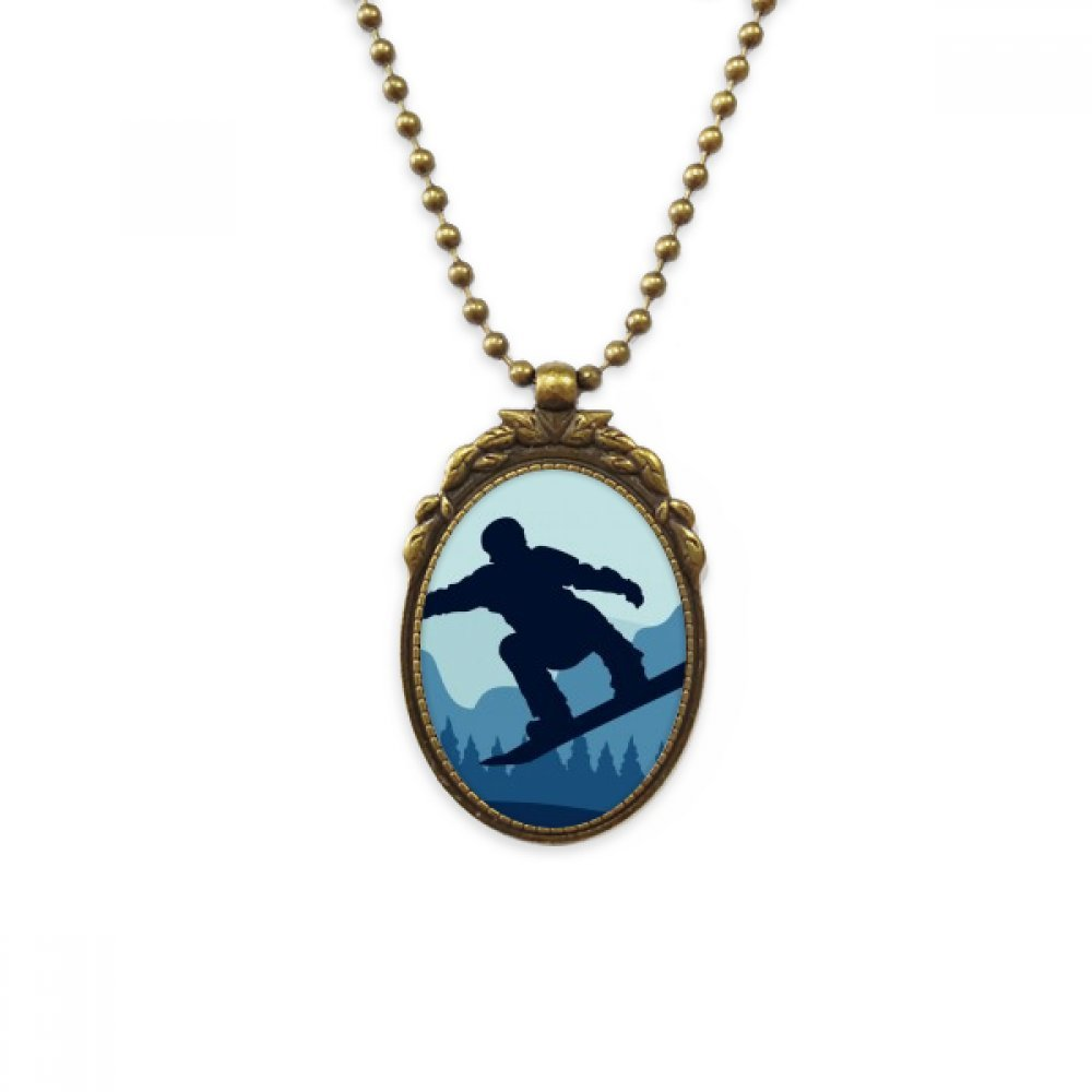 DIYthinker Winter Sport Pattern Ski Suit and Boots Antique Brass Necklace Vintage Pendant Jewelry Deluxe Gift