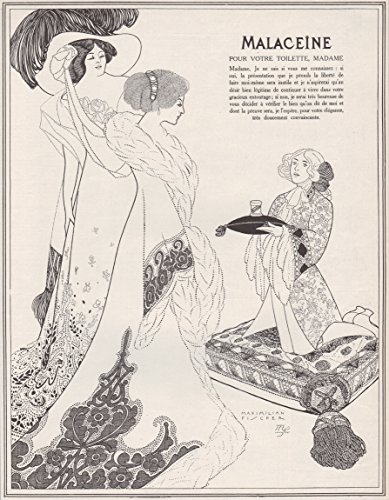 (1911 Art Nouveau Print Ad Malaceine Perfumes Beautiful Girls by M.Fischer)