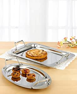 All-Clad Stainless Entertainment Trays - Set of Two: Rectangular & Oval