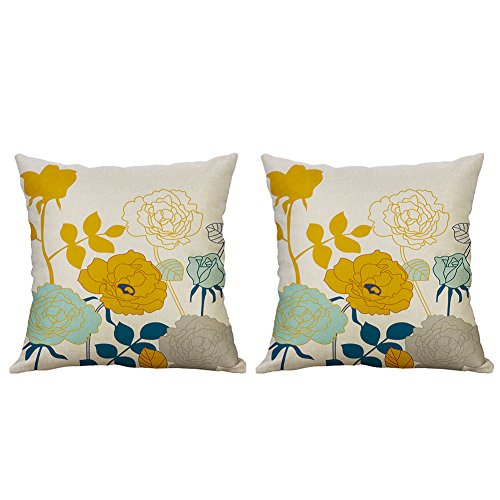 Heyhousenny Decorative Throw Pillow Covers Floral Cushion Covers Square Outdoor Pillowcase For Sofa Home Set of 2, Yellow (Flowers Pillowcase)