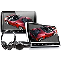 Eonon C1100A Black 10.1 Inch Clip-on Digital Screen Headrest Monitor with DVD Player One Pair