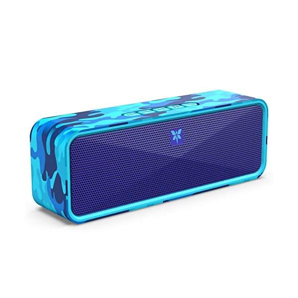 Enceinte Bluetooth 5.0 Portable, Axloie Macaron Haut-Parleur sans Fil HiFi Stéréo avec Microphone Mains Libres Entrée AUX/Clé USB/Carte TF 12 Heures Autonomie pour iOS Android Tablettes - Camouflage 1