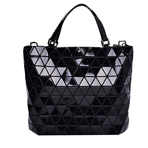 Black Diamond Lattice Handbag for Women - Gloss Convertible Shoulder Tote Bag with Adjustable Handles - PU Leather Fashionable & Tote Bag Purse for Party, Wedding & Causal Use by Draizee by Draizee