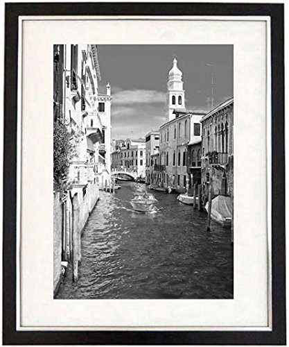 Romantic venice framed black white print of a venice canal and boat