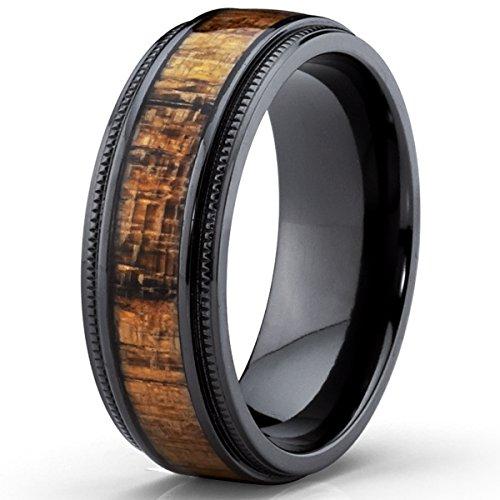 black titanium wedding band with real koa wood inlay milgrain ring comfort fit 8mm amazoncom - Koa Wood Wedding Rings