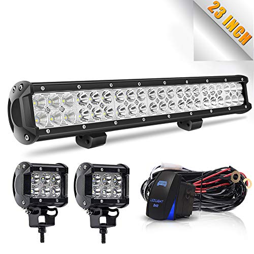 W Led Light Bar Spot Flood Combo Led Bar 2PCS 4Inch 18W LED Pods Fog Lights with Wiring Harness Kit-3 Leads For Jeep Dodge Polaris RZR Ford Pickup ATV SUV Cars, 1 Year Warranty ()