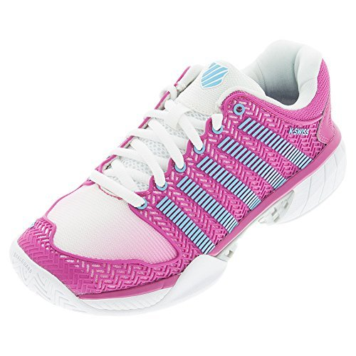 K-Swiss Women's Hypercourt Express Tennis Shoe-8 B(M) US-White/Very Berry/Bachelor Button