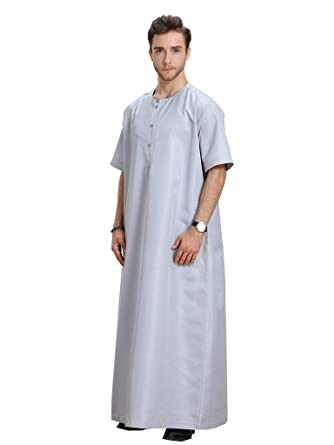 8592de2a570e GladThink Men s Muslim Thobe With Short Sleeves and Round Neck at Amazon Men s  Clothing store