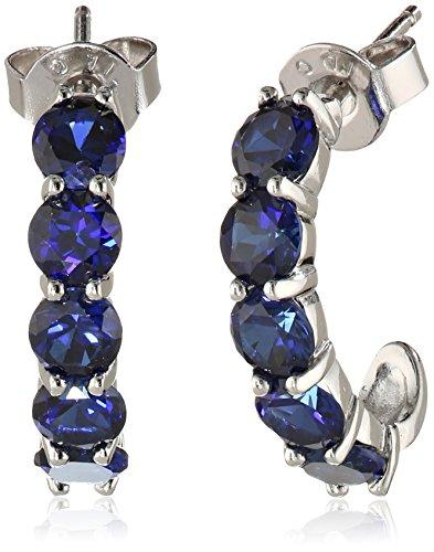 Sterling-Silver-Round-Gemstone-J-Hoop-Earrings