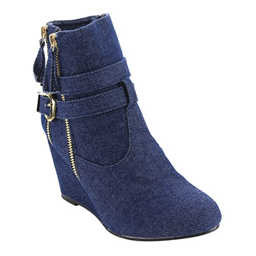 Forever FM04 Womens Zipper Ankle Strap Buckle Wrapped Wedge Heel Ankle Booties Blue Denim