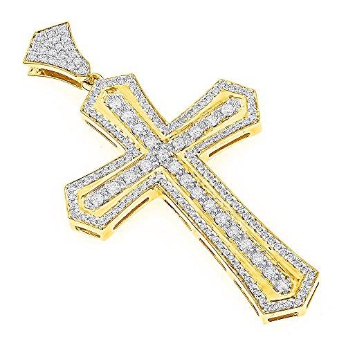 Cross Golden Diamond - Luxurman 14K Designer Unique Natural Diamond Cross Pendant for Men (Yellow Gold)