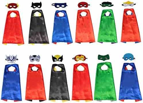 XKX Superhero Capes Masks For Party,12 Set