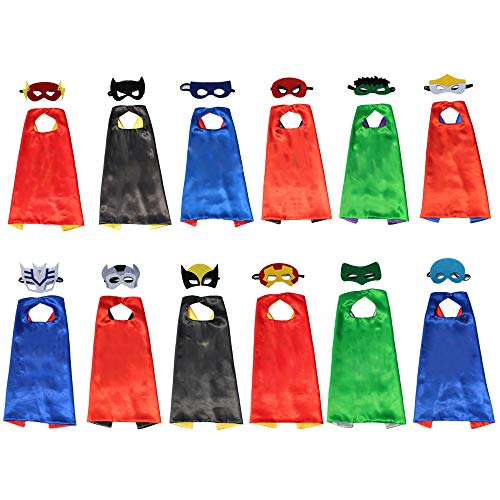XKX Superhero Capes Masks For Party,12 -