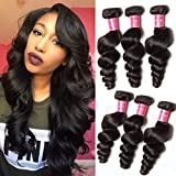ALI JULIA 20 18 16 Inch 10A Brazilian Loose Wave Hair Weave 3 Bundles 100% Unprocessed Virgin Human Hair Weft Extensions 95-100g/pc Natural Color