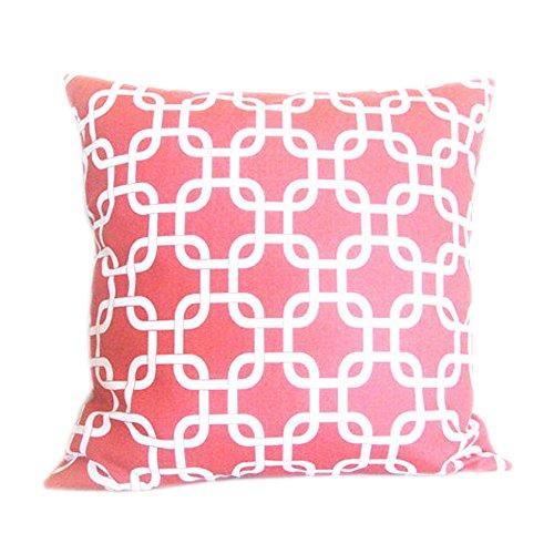 Popeven Coral Canvas Trellis Chain Accent Decorative Throw Pillow Cover