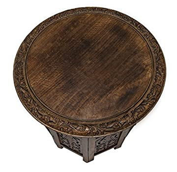 Cotton Craft Mango Wood Hand Carved Accent Pedestal Table - Antique Brown - Handcrafted Carved Wood Accent Table