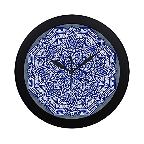 Blue Clock Plate Cobalt (Modern Simple Chinese Porcelain Painting Style Porcelain Plate Pattern Wall Clock Indoor Non-ticking Silent Quartz Quiet Sweep Movement Wall Clcok For Office,bathroom,livingroom Decorative 9.65 Inch)
