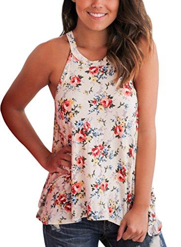 Sidefeel Women Floral Sleeveless T shirt
