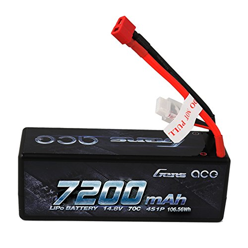 Gens ace 14.8V 7200mAh 4S LiPo Battery Pack 70C HardCase with Deans T Plug for 1 8 1 10 Slash Traxxas Bandit EMaxx RC Car Boat Truck Heli Roar Approved