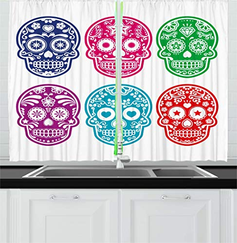 "Ambesonne Day of The Dead Kitchen Curtains, Skull Oriental Mexican Sugar for Day, Window Drapes 2 Panel Set for Kitchen Cafe Decor, 55"" X 39"", Turquoise Fuchsia"