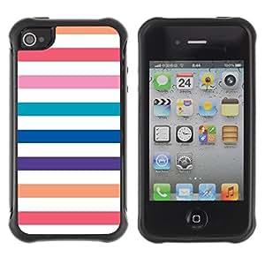 "Hypernova Defender Series TPU protection Cas Case Coque pour Apple iPhone 4 / iPhone 4S [Playa Blanca Líneas en colores pastel colorido""]"