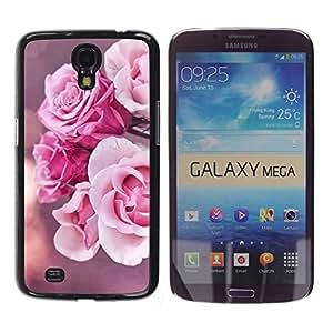 Paccase / SLIM PC / Aliminium Casa Carcasa Funda Case Cover para - Rose Pink Nature Flowers Sun - Samsung Galaxy Mega 6.3 I9200 SGH-i527